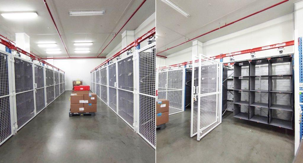 Another Storeganizer high density storage system delivered and installed by Tellus Systems Limited in a secure area. Maximising the storage capacity behind the wire mesh doors.